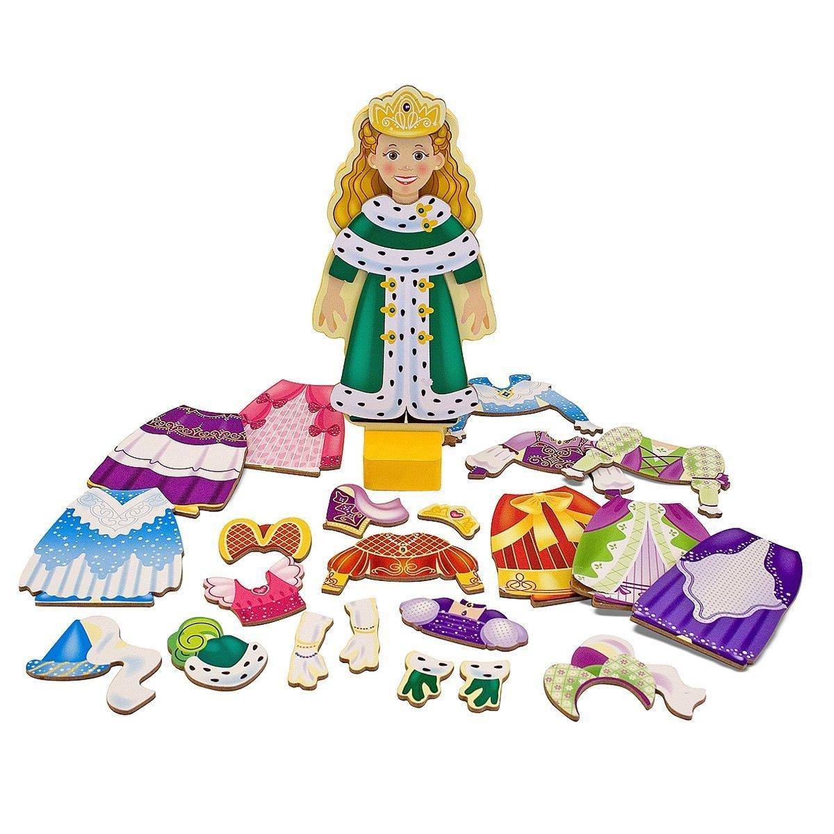 Melissa & Doug Princess Elise - Magnetic Dress Up Wooden Doll & Stand + FREE Scratch Art Mini-Pad Bundle [35538] by Melissa & Doug