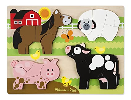 dfc47ec26b39 Image Unavailable. Image not available for. Color  Melissa   Doug Farm  Animals Wooden Chunky Jigsaw Puzzle ...