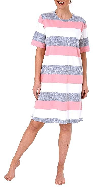 auch in Übergrössen bis 60//62 Damen Nachthemd kurzarm mit Block Streifen