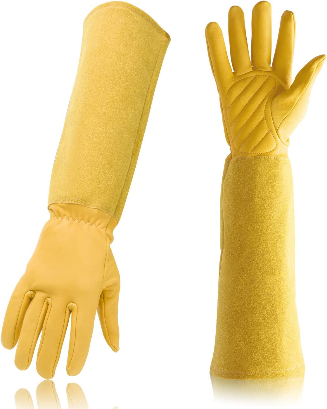 Gardening Gloves Professional Rose Pruning Thorn & Cut Proof with Long Forearm Protection for Women/Men Durable Thick Cowhide Leather Work Garden Gloves