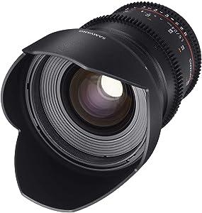 Samyang F1312806101 - Objetivo para vídeo VDSLR para Sony E (Distancia Focal Fija 24mm, Apertura T1.5-22 ED AS IF UMC II, diámetro Filtro: 77mm), Negro