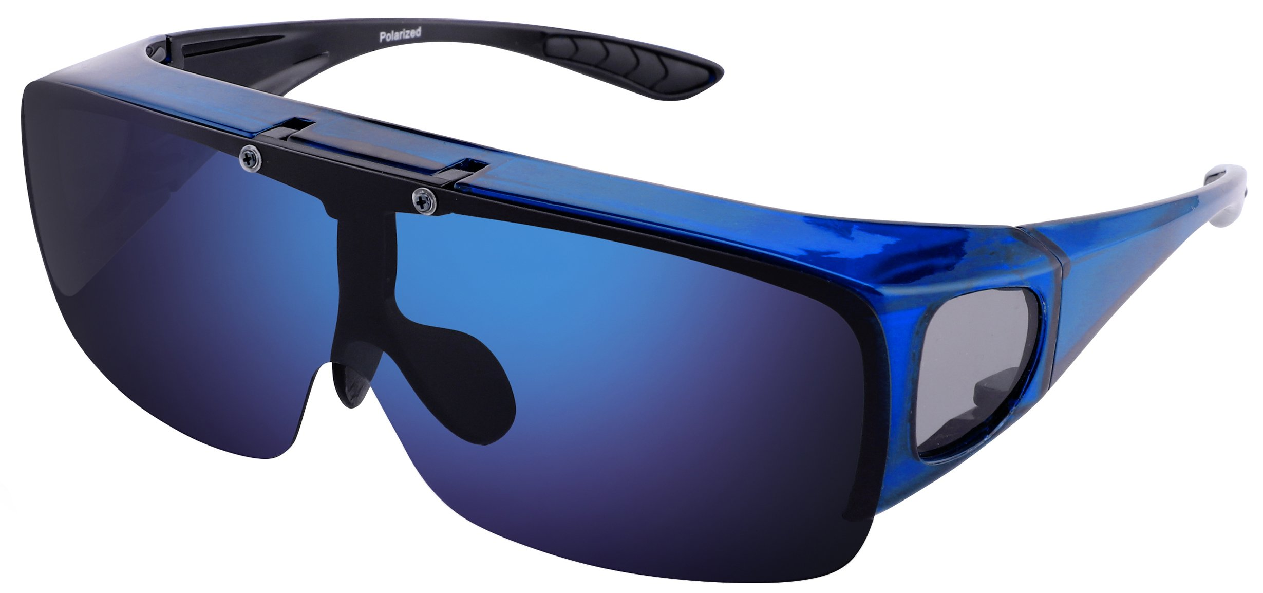 TINHAO Mens Polarized Flip Up Fitover Sunglasses with Mirrored Lenses (Blue, Blue)