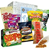 "Geschenkbox ""Snack Weltreise"" + Snack + Chips + Maiz de Barbacoa + Boxerchips + Stilton Cracker + Weih Lih Cracker + Hi Tempura Seetangsnack + Knuspermais + Spanien + Irland + England + Südafrika + China + Japan"