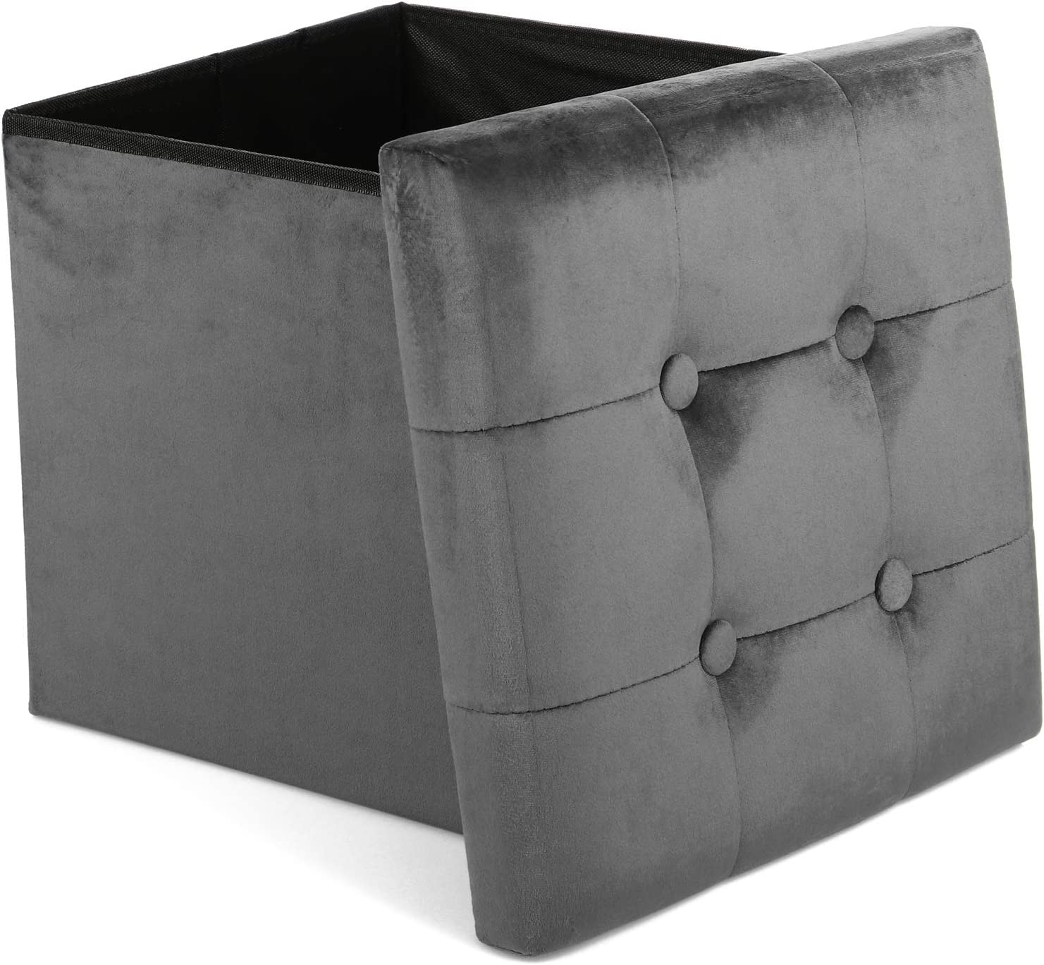 com-four® Stool with Storage Space – Foldable Cube Seat – Padded Storage Box with Lid – Great as Stool, Footstool, Storage and Small Footstool blue Grey