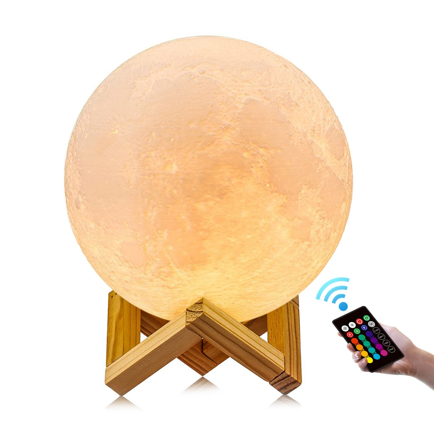 Moon lamp, GDPETS 16 Color 3D Printing Moon Led Night Light, Remote& Touch Control and Adjust Brightness& Rechargeable Home Decorative Light Lamps for Baby/Kids/Lover/Friends Gifts (7.9inch)