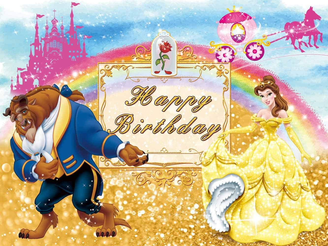 Photography Beauty and The Beast Background Bell Princess Girl Birthday Backdrop Party Supplies Banner