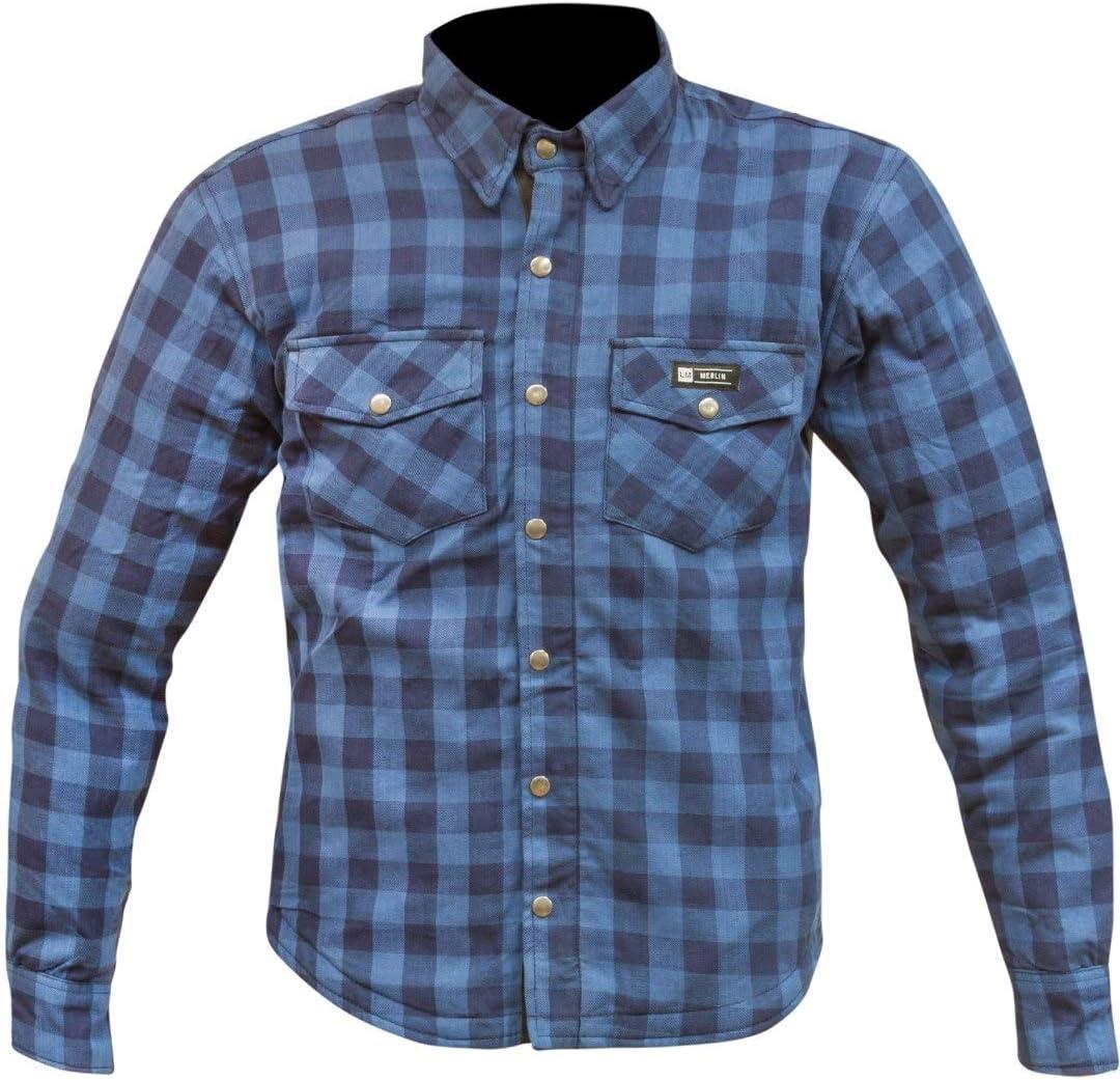 Merlin Axe - Camiseta de Manga Corta con Cremallera (100% Kevlar), Color Azul y Negro: Amazon.es: Coche y moto