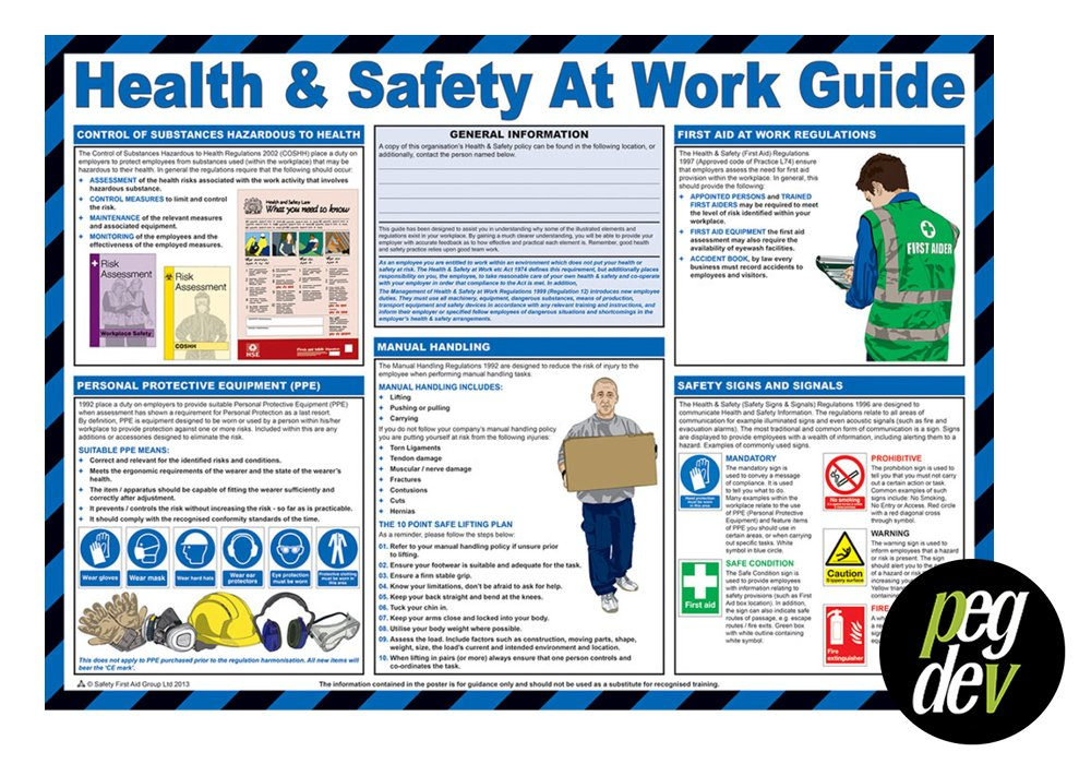 FIRST AID LAMINATED HEALTH & SAFETY POSTERS A2 LANDSCAPE DURABLE HAZARD SIGN - HEALTH & SAFETY AT WORK GUIDE PDL