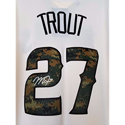 pretty nice 4a169 204e4 Mike Trout Signed Authentic Replica Camo Angels Jersey Cool ...