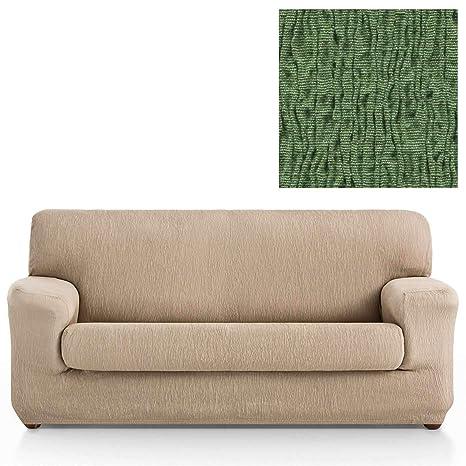 Jarrous Funda de Sofá Elástica con el Cojín Separado Modelo Arucas, Color Verde-6, Medida 3 Plazas – 180-240cm