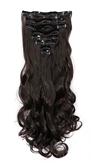 S Noilite 17 Full Kopf Klipp In Den Haar Verlangerungen Ombre Gewellt Gelockt Haarverlängerungen Dip Dye 8pcs Lang Haare Dunkelbraun