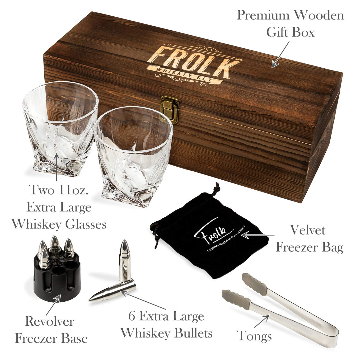 Whiskey Bullet Stones Premium Gift Set By Frolk, Set Of 6 Extra Large Stainless Steel Whiskey Stones, 2 Large Twisted Whiskey Glasses (11 oz), Freezer Base, Velvet Pouch & Tongs In Novelty Wooden Box by Frolk (Image #2)