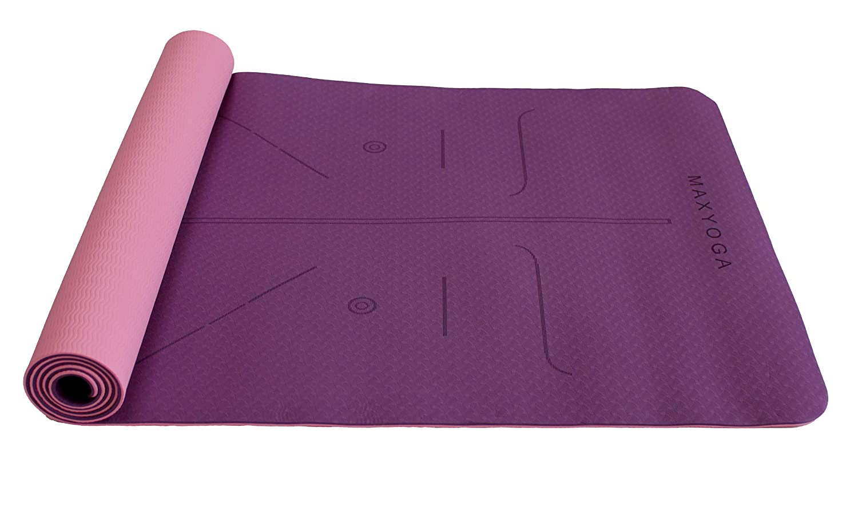 MaxDirect Esterilla Yoga con Sistema de Alineación del Cuerpo. Colchoneta Yoga Mat Antideslizante y Ligera de Material Ecológico TPE. Tamaño Ideal ...
