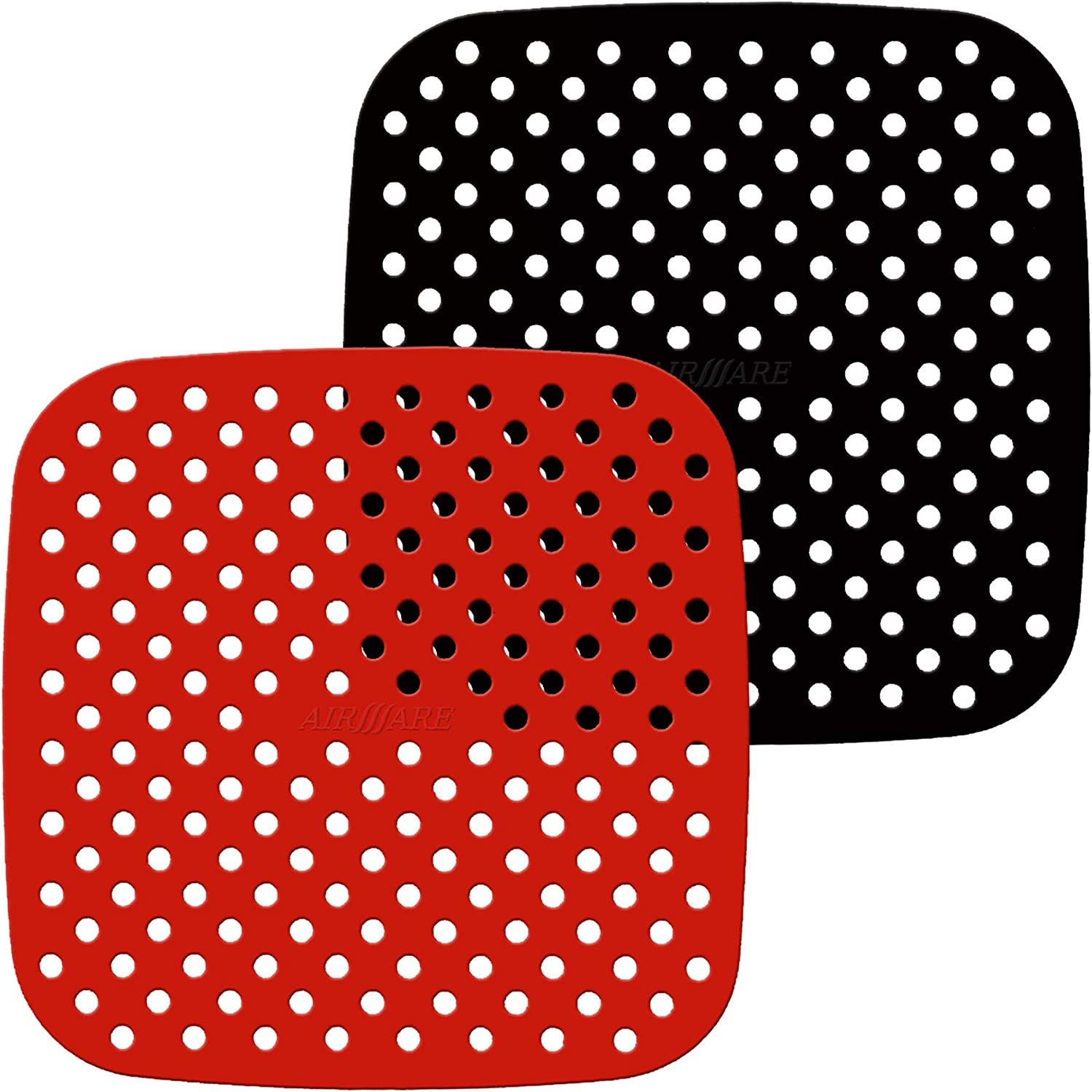Airware Reusable Air Fryer Liners – 8.5-Inch Square, Non-Stick Silicone Air Fryer Basket Mats | Air Fryer Accessories For Cosori, Instant, NuWave, Philips, and More | BPA Free (2-Pack)