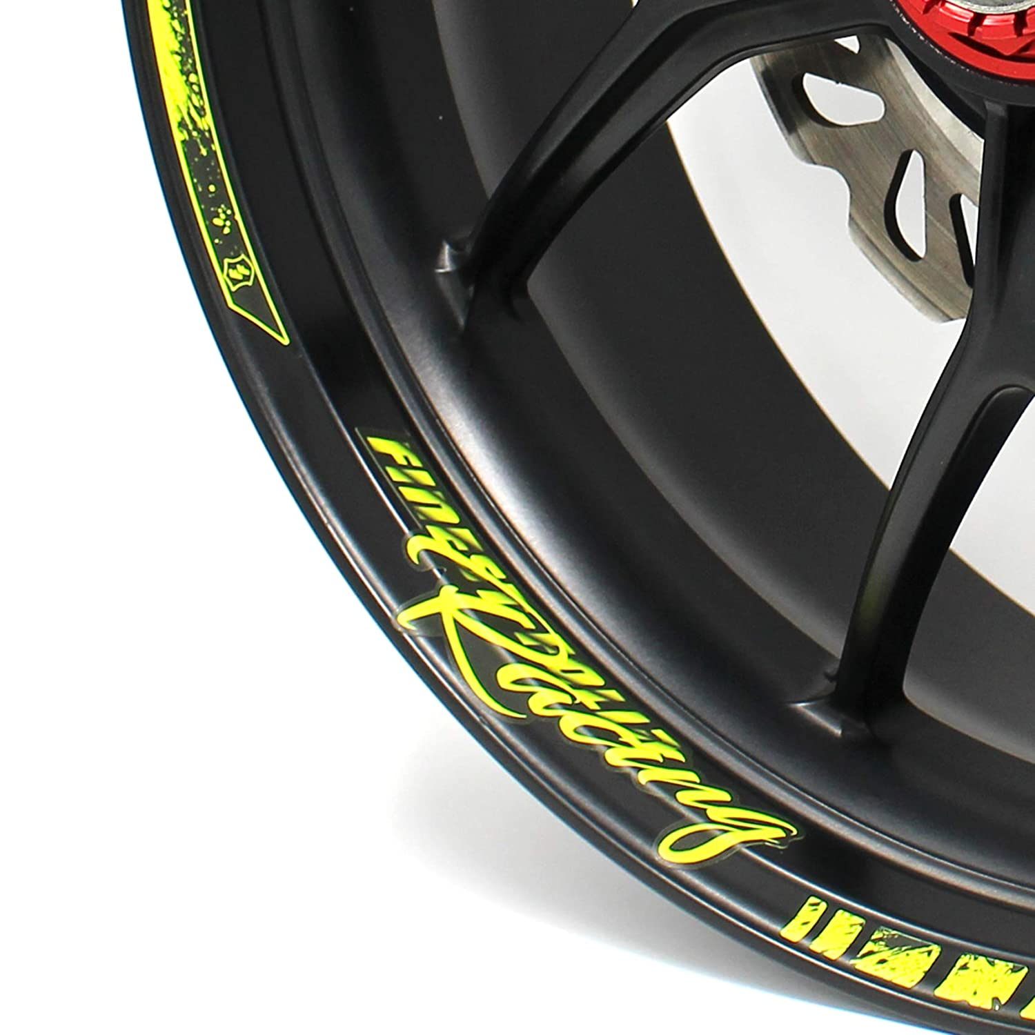 Rim Well Decal Motorcycle Car Bicycle Wheel Rim Design incl Complete Set 18-piece Rim Edge Sticker Neon Line by Finest Folia Fits 17 inch /& 16 18 19 Rims neon pink, glossy