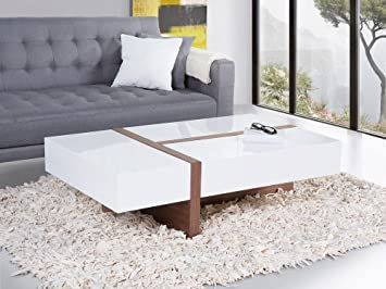 Table Basse - Table de Salon - Marron et Blanc - Mirandela: Amazon ...