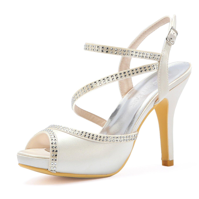 Elegantpark HP1805I Femme Peep Toe Plate-Forme Mariage Femme Talon Haut Sandales de Strass Sangle Boucle Satin Chaussures de Mariée de Mariage Ivoire 0ecbfc0 - deadsea.space