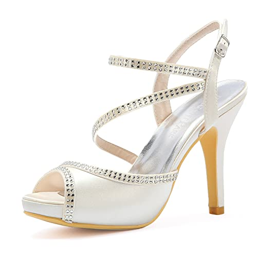 ... ElegantPark HP1805I Women High Heel Platform Shoes Open Toe Rhinestones  Buckle Satin Bridal Wedding Sandals Ivory ... 936461d60186