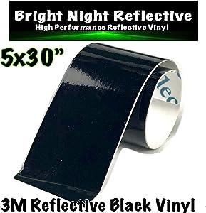 Bright Night Reflective 3M Motorcycle Helmet Safety Tape Decal Sticker Kit DYI (Black, 5x30)