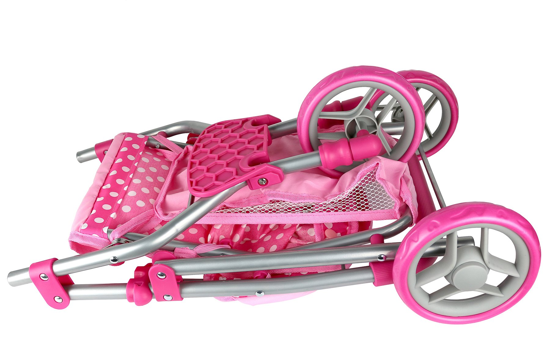 Precious Toys, Pink & White Polka Dots Foldable Doll Stroller Jogger, Foam Handles, and Hot Pink Frame by Precious toys