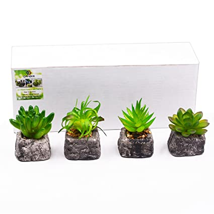 OFFIDIX Artificial Plants In Pots, Artificial Succulent Plants For Home U0026  Office Decoration With Ceramic