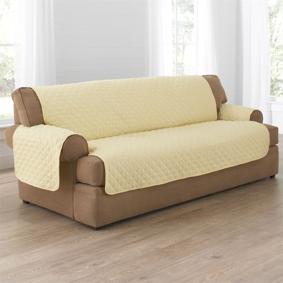 BrylaneHome Bh Studio Water-Repellent Microfiber Extra-Long Sofa Protector (Yellow,0)