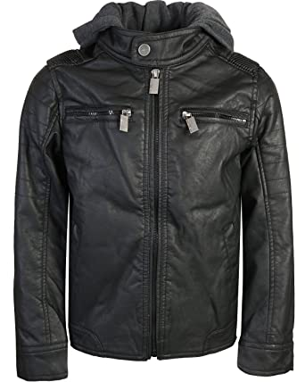 0f4e74ab3aa Amazon.com  Urban Republic Boys Faux Leather Jacket with Fleece ...
