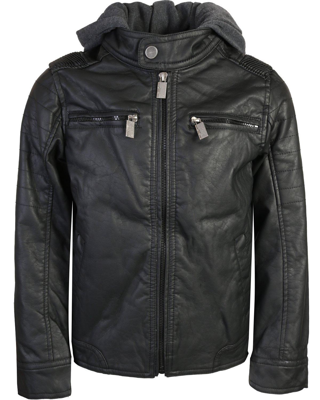 Urban Republic Boys Faux Leather Jacket With Fleece Hoodie, Black w/Grey Hood, 18/20'