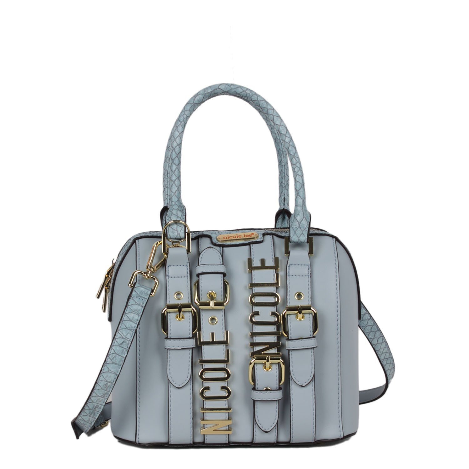 Belt Embellish and Faux Croc Detail  Blue  Nicole Lee Dome Bag  Handbags   Amazon.com ea418197b5718