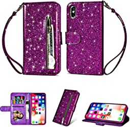 Glamorous Bling Purple Leather Wallet Case Credit Card Cash Stand Cover with Zipper - Estuches Fundas