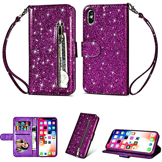 Amazon.com: Glamorous Bling Purple Leather Wallet Case ...