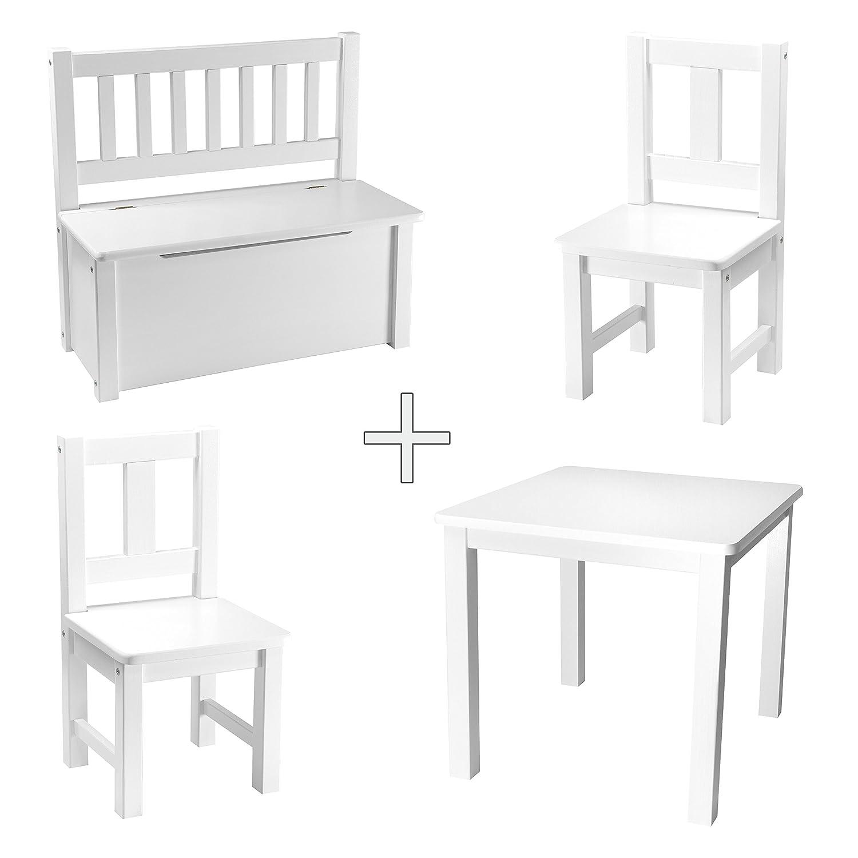 Rabando Kiefer - Kindersitzgruppe Weiß lackiert Holz 1x Kindertisch mit 2X Kinderstühlen + 1x Kinderbank