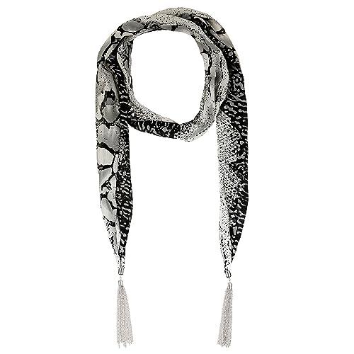 LUREME stile Bohemien d' epoca rodio pelle di serpente stampa nappe ciondolo collana sciarpa (01003146-parent) (blu)