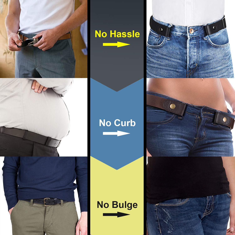 No Buckle Stretch Belt Invisible Adjustable Elastic Waist Belt for Jeans Pants,Black,Suit for Pants Size 30\