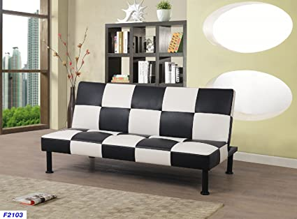 Star Home Furniture FUTON2103 Futon2103 Futon Convertible Sofa Bed, Black  And White