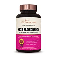 Kids Elderberry Gummies | Great-Tasting Immune Support Formula with Vitamin C, Echinacea, Sambucus, Propolis Extract | by Live Conscious - 60 Count