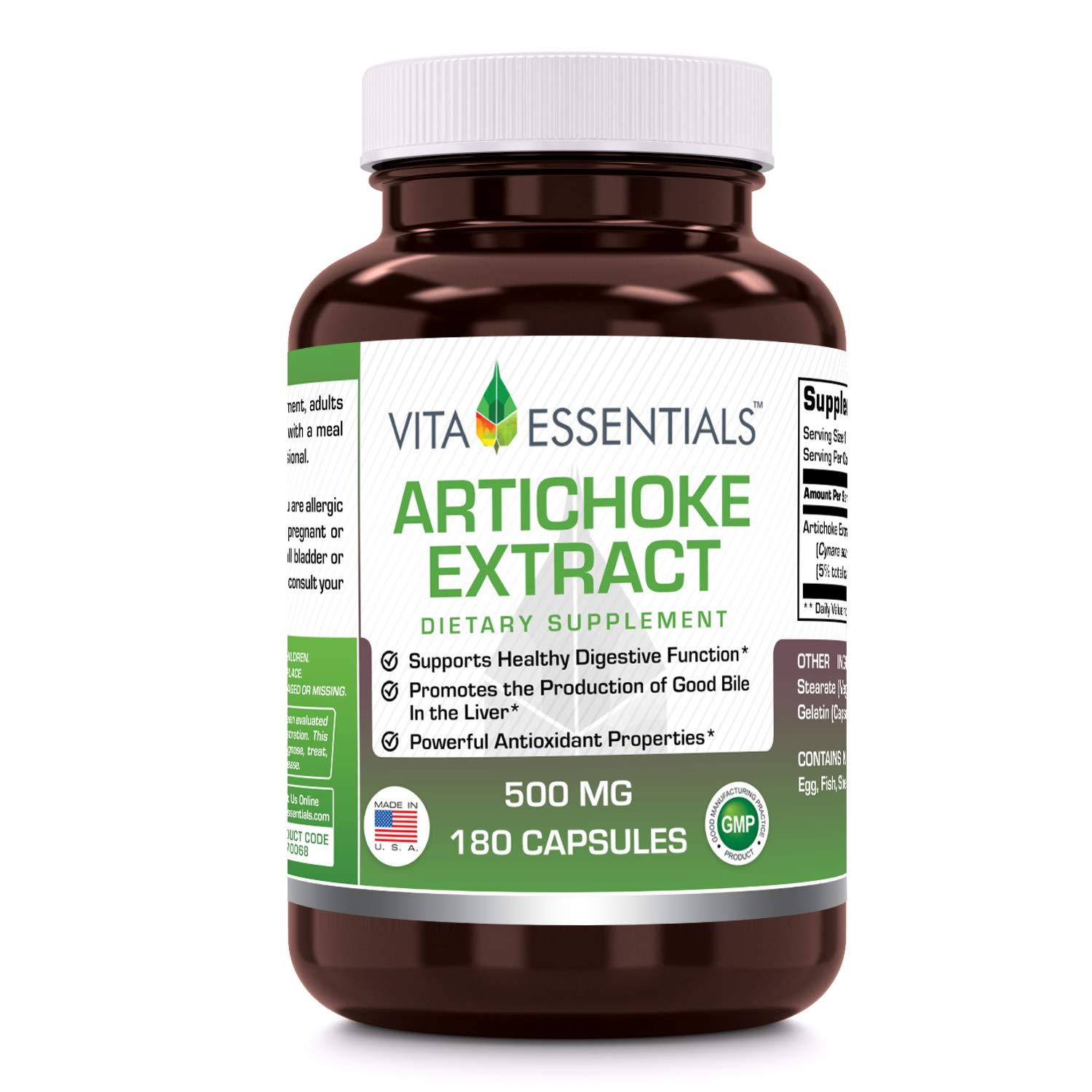 Vita Essentials Artichoke Extract 500 Mg Capsules. 180 Count