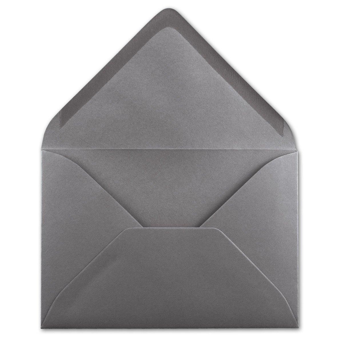 75x Brief-Umschl/äge in Graphit-Grau//Dunkelgrau Qualit/ätsmarke FarbenFroh/® Nassklebung ohne Fenster 80 g//m/² Kuverts in DIN B6 Format 12,5 x 17,5 cm
