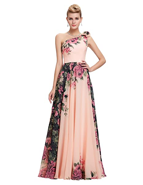 Review GRACE KARIN Floral Print Graceful Chiffon Prom Dress for Women (Multi-Colored)