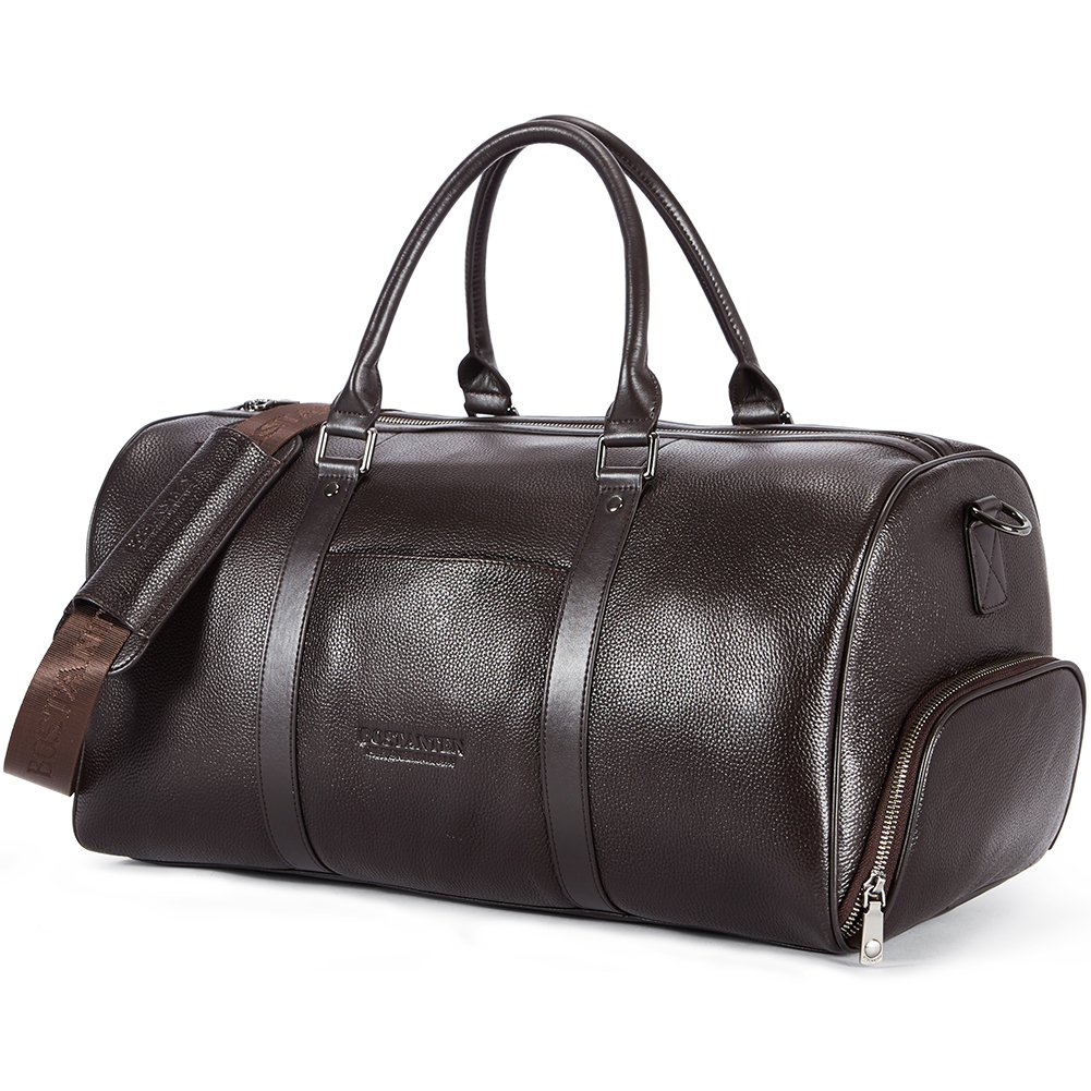 BOSTANTEN Genuine Leather Travel Weekender Overnight Duffel Bag Gym Sports Luggage Bags for Men Large Coffee B8173391K-10