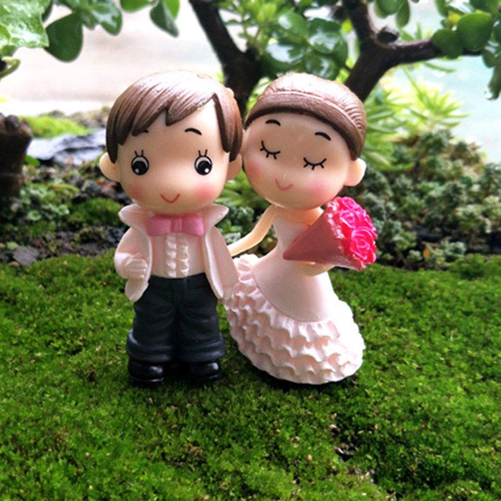 Mengonee Bride and Groom Wedding Doll Cartoon Pvc Couple Figurines Miniatures Cake Decoration DIY Craft Home Ornament