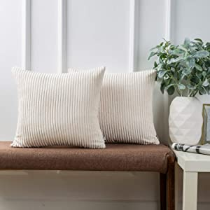 Ashler Pack of 2 Corduroy Soft Velvet Striped Solid Square Throw Pillow Covers Cushion Cases 18 x 18 inch Off-White