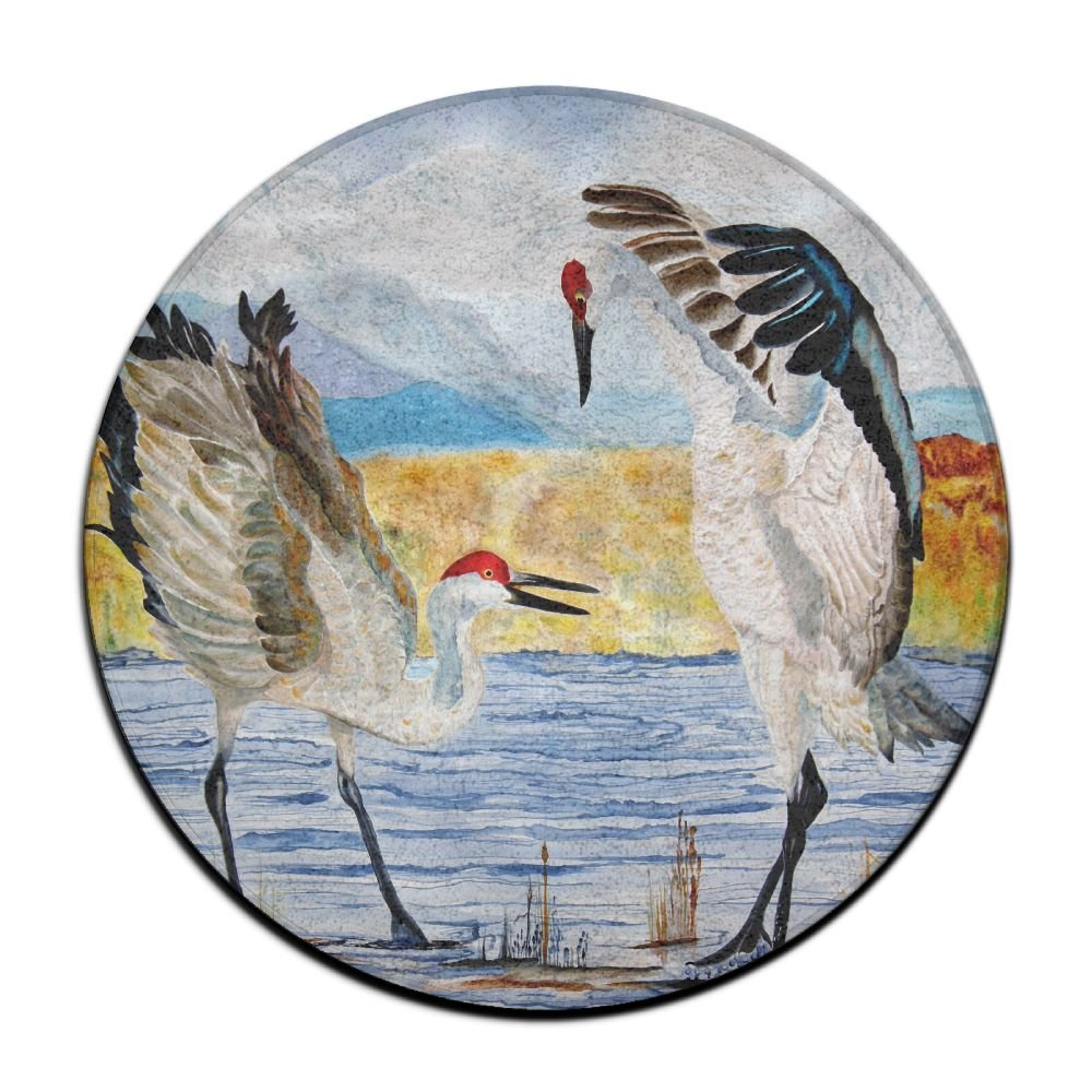 Yiot The Dance Sandhill Cranes Design Rug Non-Skid Rubber Backing Area Rug For Living Room/dining Room/bedroom/foyer/playroom Diameter Size: (23.6/0.4) Inch