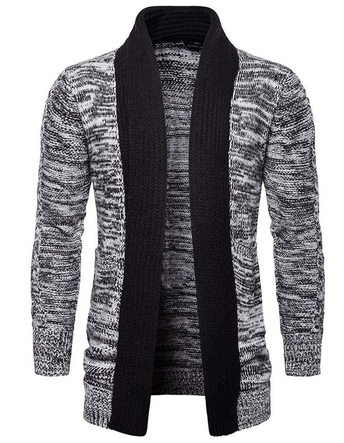 Pivaconis Mens Contrast Color Shawl Collar Open Front Knitted Sweater Cardigan