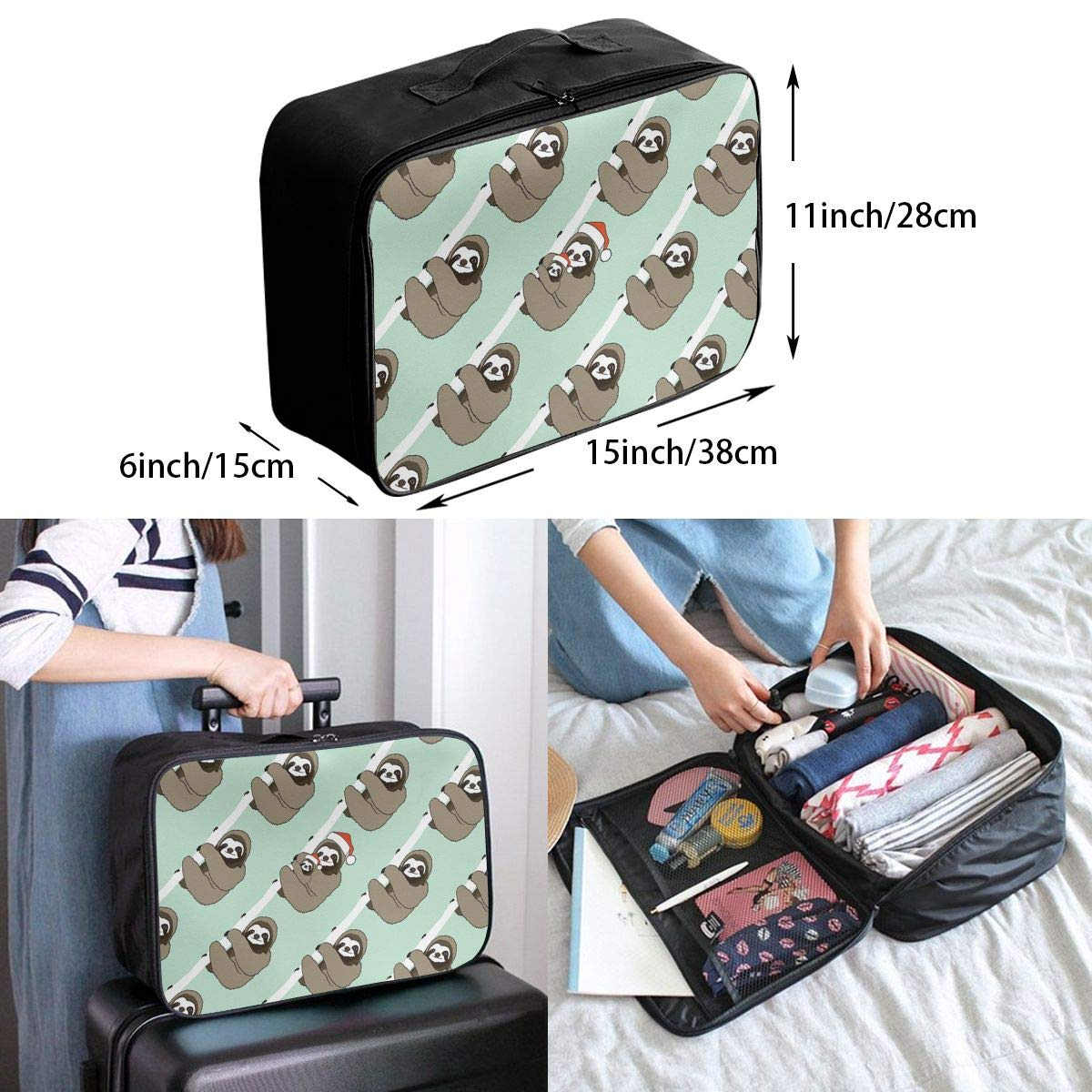 Travel Luggage Duffle Bag Lightweight Portable Handbag Sloth Print Large Capacity Waterproof Foldable Storage Tote