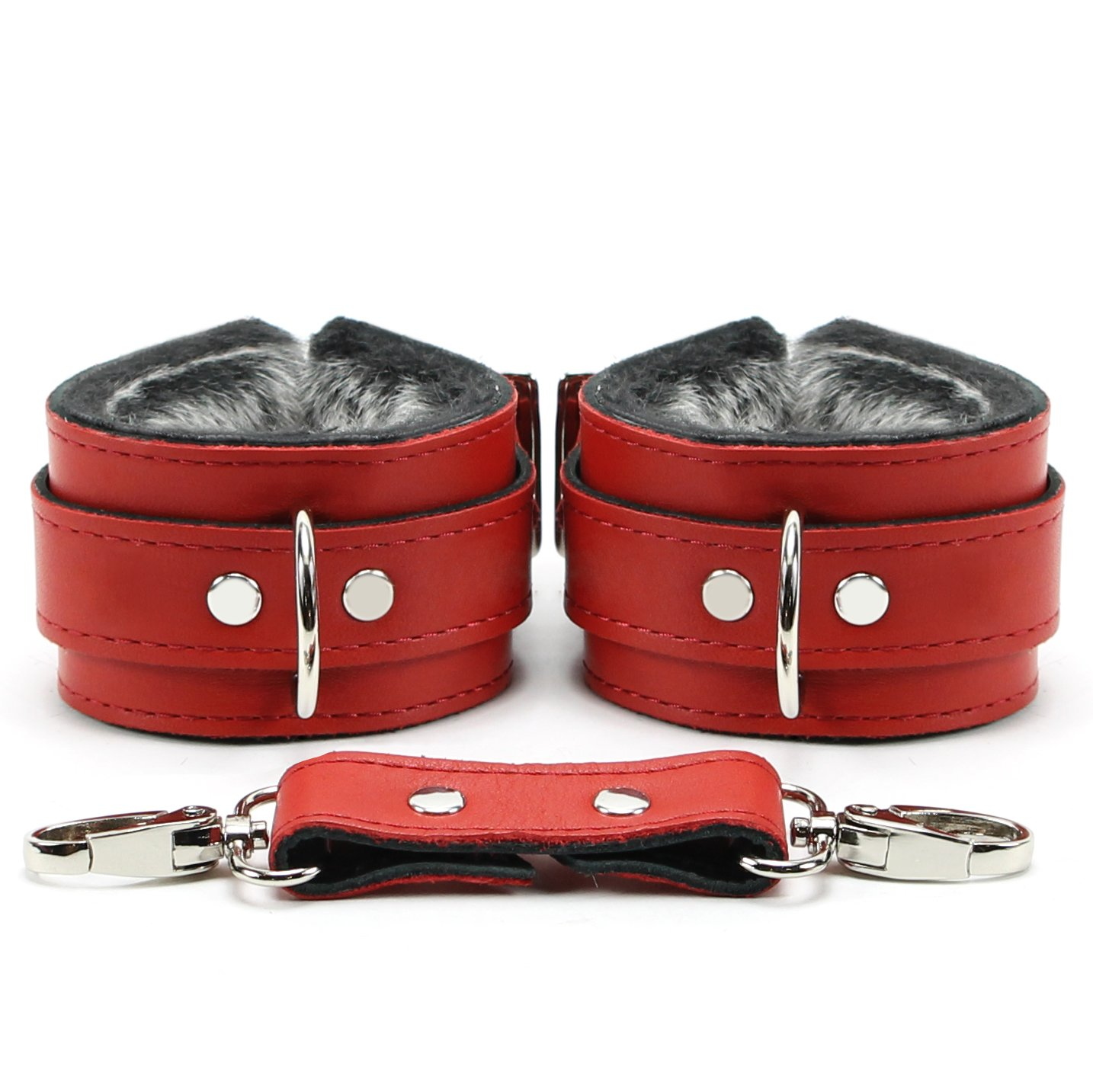 Barcelona Wrist and Ankle Cuffs Soft Lamb Hide Natural Leather (Red, Ankle) by VP Leather