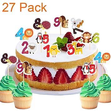 Paquete de 27 adornos para cupcakes, diseño de animales de ...