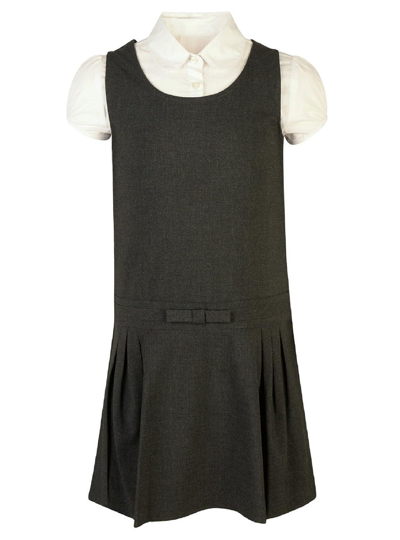GIRLS PINAFORE DRESS /& BLOUSE EX STORE 2PC SET