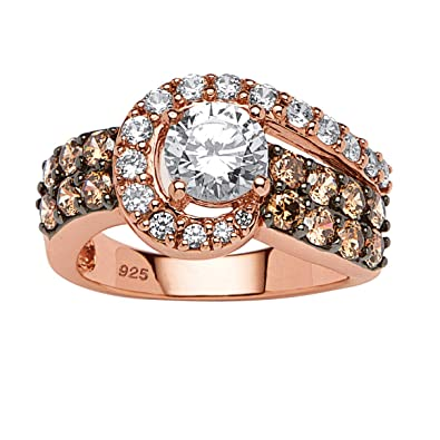 cbaf5f15a Amazon.com: Rose Gold Plated Sterling Silver Round White and Brown Cubic  Zirconia Ring: Jewelry