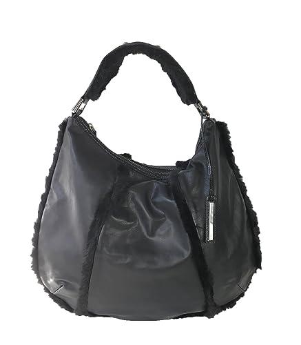 5ae91e1208 Amazon.com  Kenneth Cole Fur You Leather Hobo with Faux Fur Trim ...